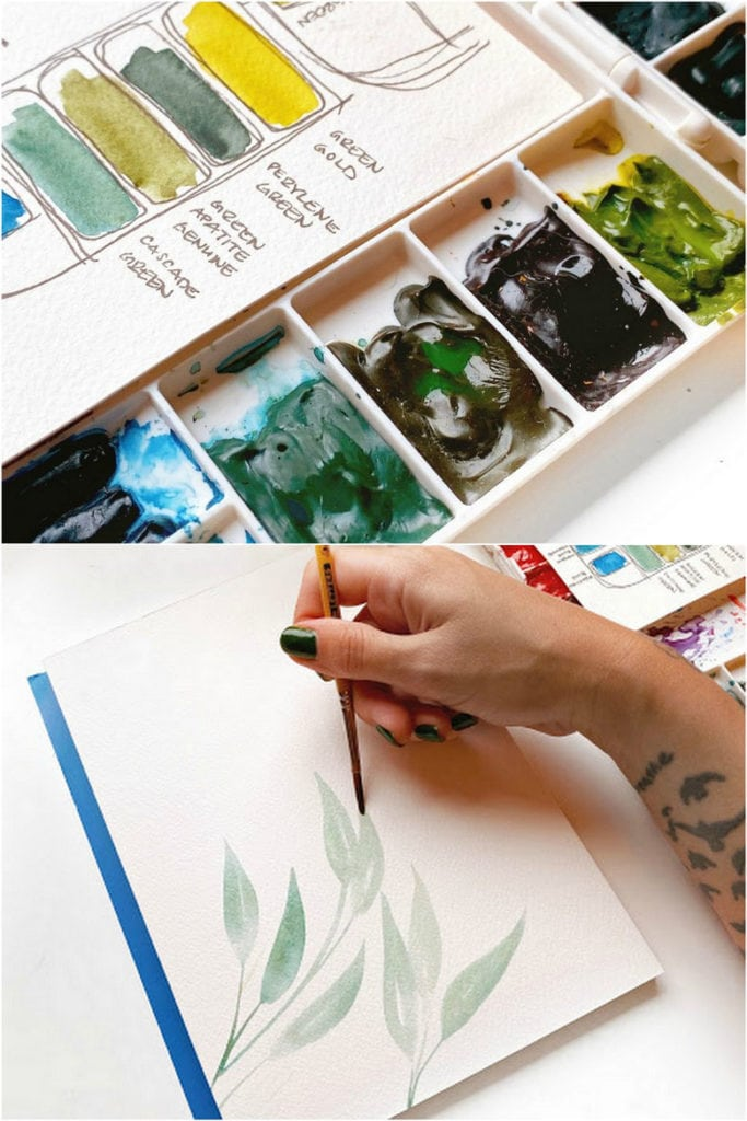 Make watercolor swatches of green colors