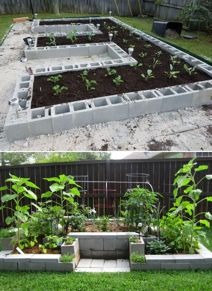 U-shape cinder block garden bed designs