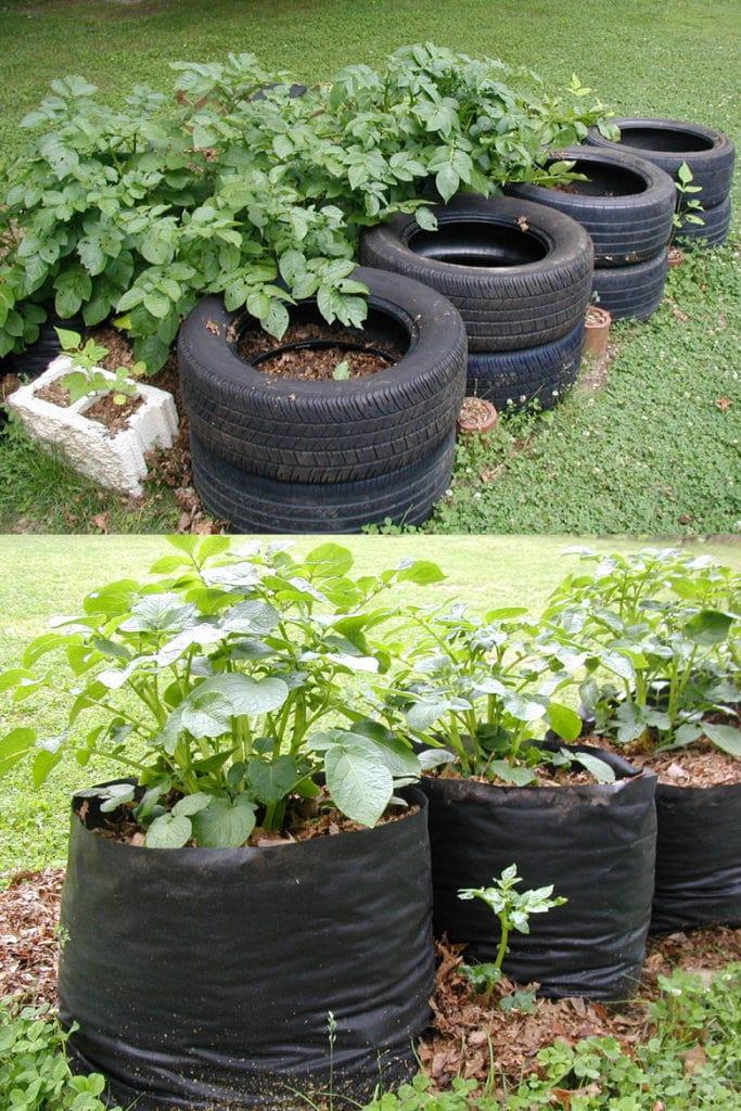 make your own fabric potato grow bags
