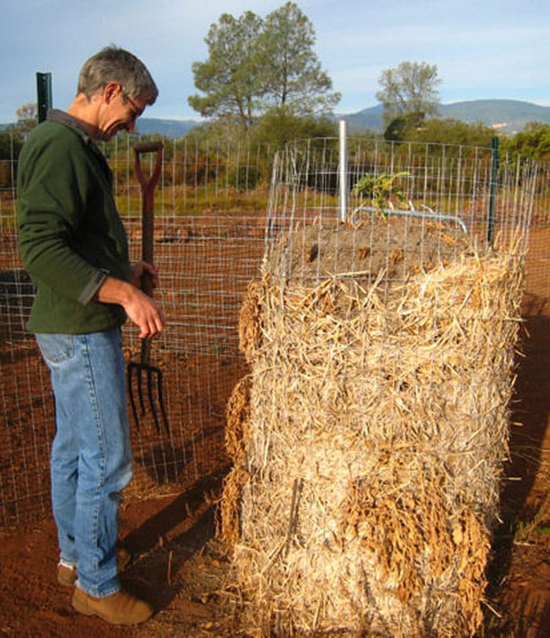 wire cage and straw potato tower