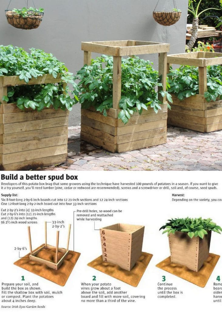DIY wood potato box with slats