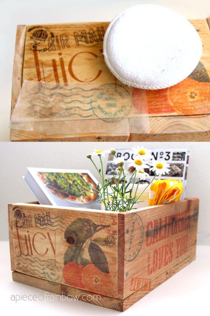 Cadeaux de fête des mères bricolage ferme vintage: caisses en bois de palette