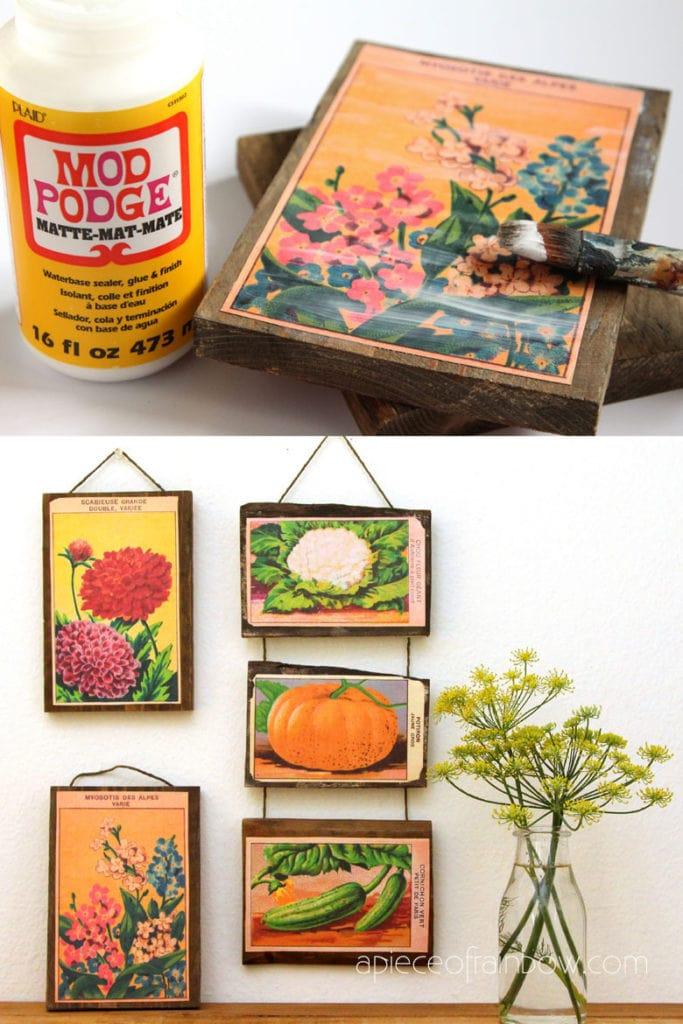 vintage farmhouse seed packet art on wood