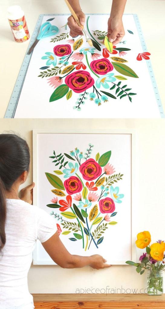 Art mural magnifique collage de fleurs: cadeau de bricolage facile pour maman