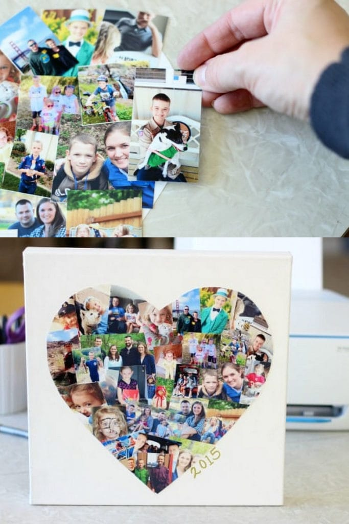 Easy DIY photo collage heart for Mom