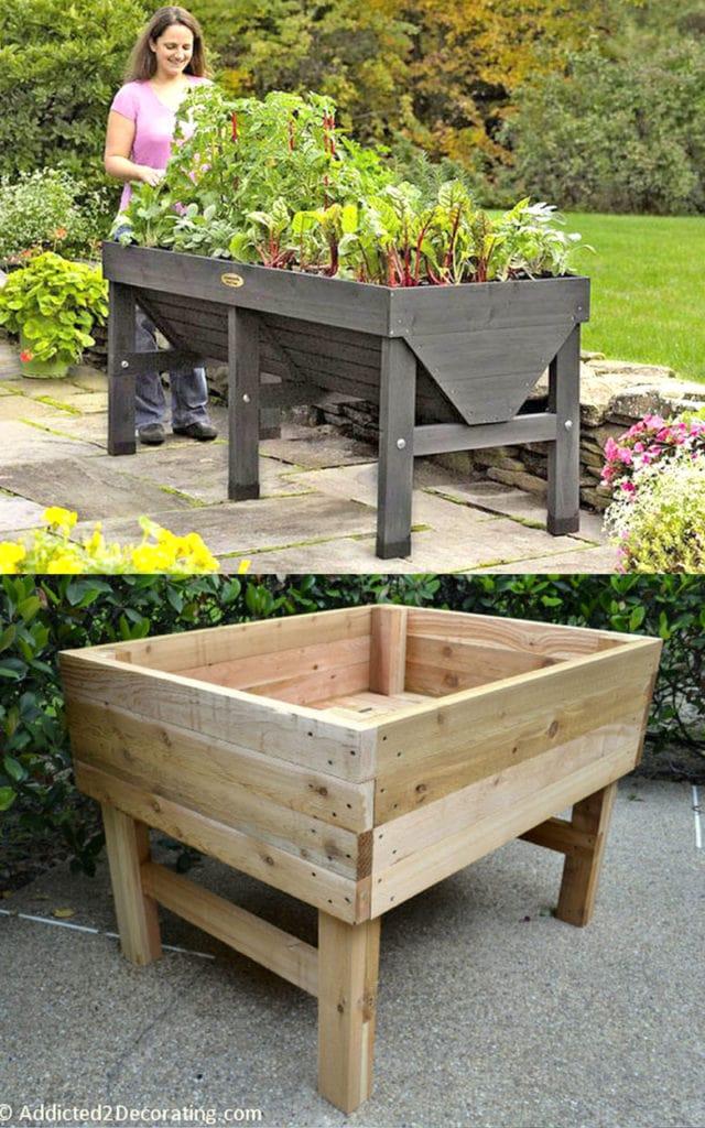 Build a raised garden planter for mom who loves gardening