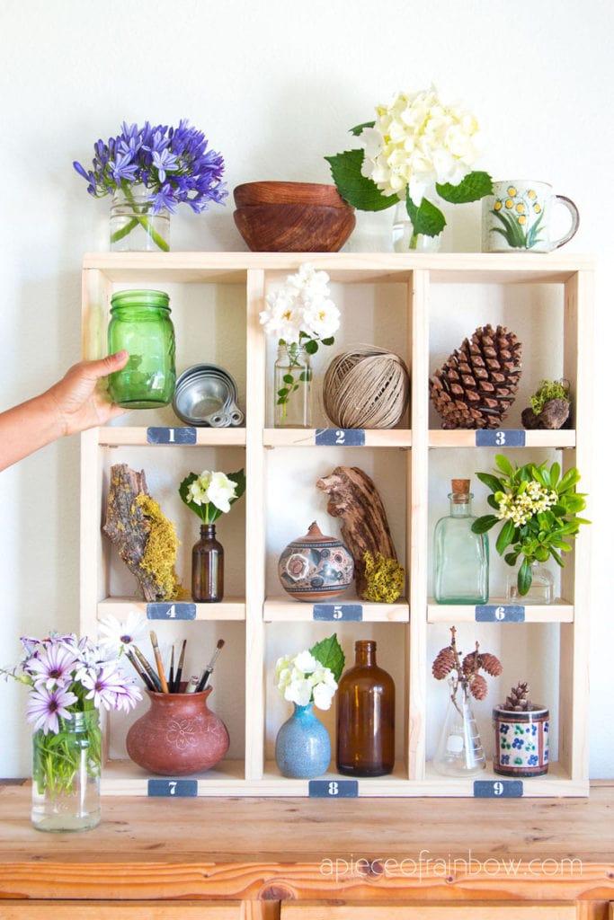 DIY Pottery Barn inspired cubby shelf