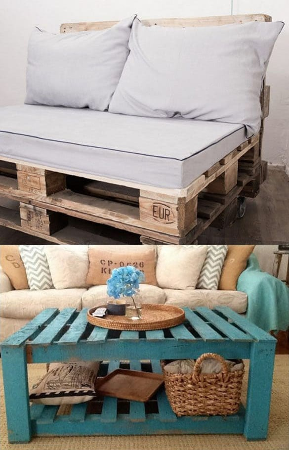 DIY  Pallet furniture, sofas and coffee tables