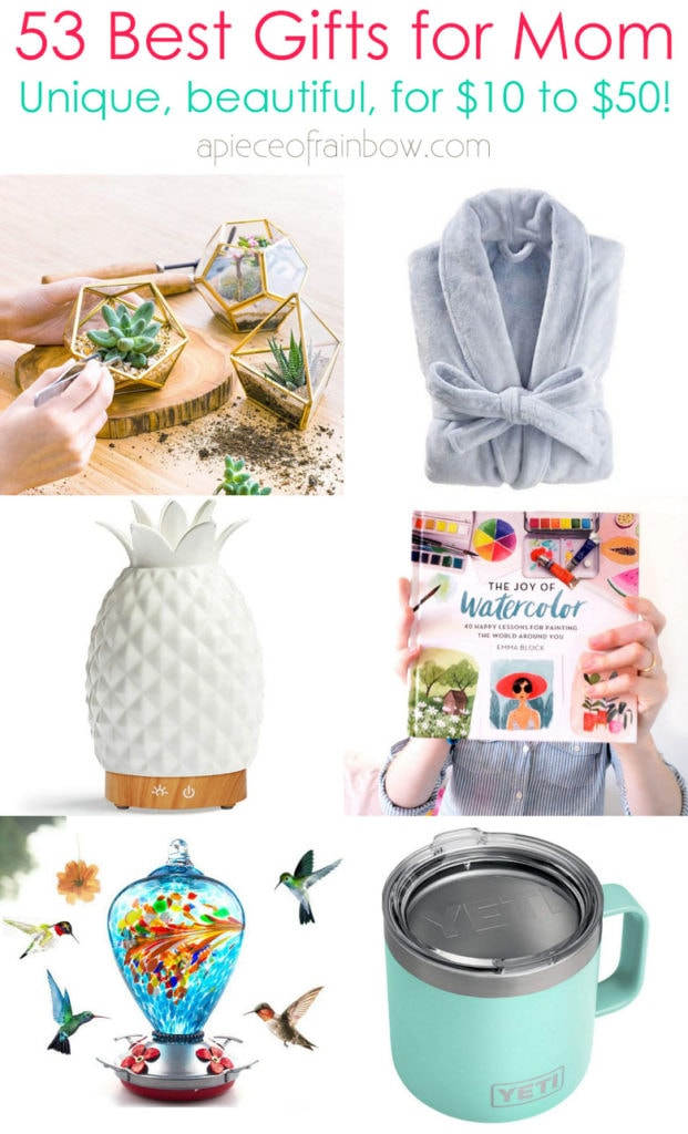 53 best Mother's Day gifts from $10 to $50! Mom will love these beautiful, meaningful, unique, useful, creative, happy & personalized ideas!