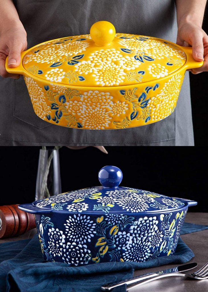 hand painted ceramic casserole dishes birthday or Mother's Day gifts