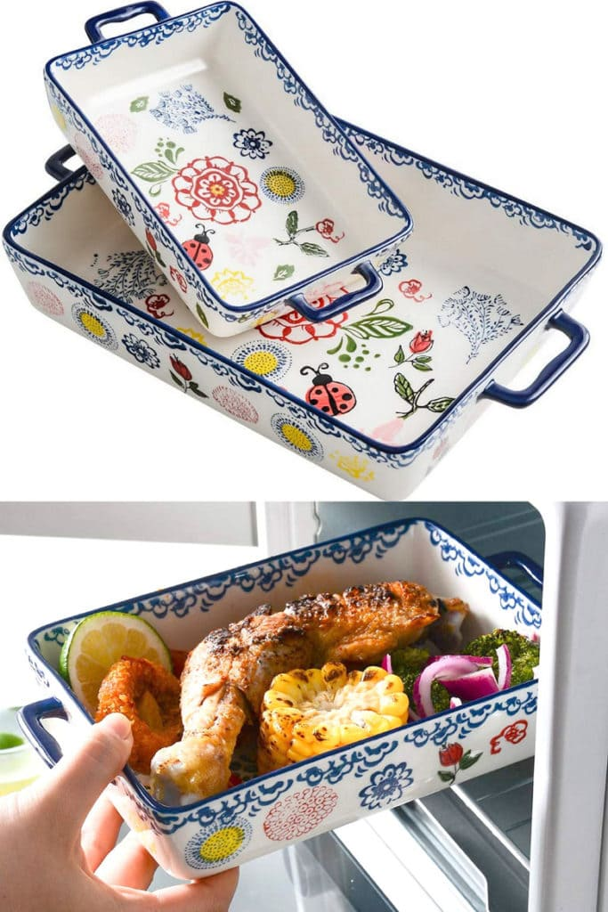 hand-painted baking dishes