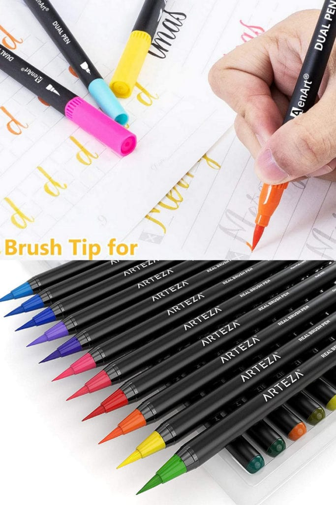 dual-tip brush markers, or paint brush pens Mother's Day gift ideas