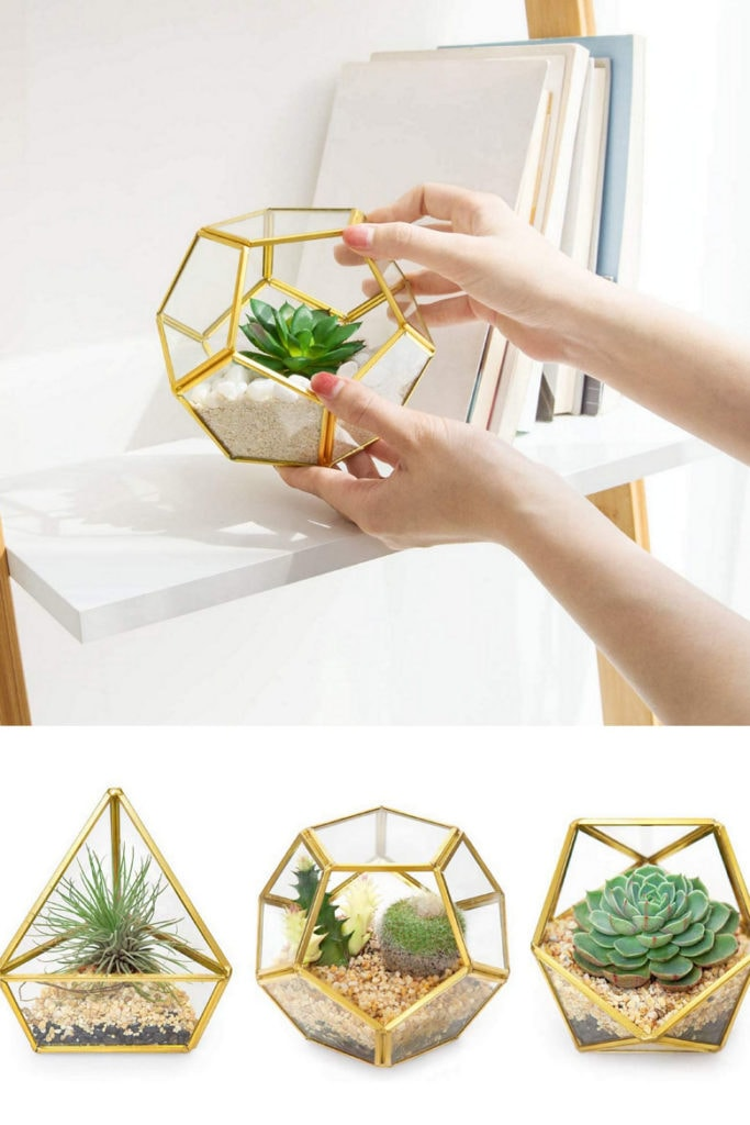 set of gold geometric terrariums are stylish gifts for mom
