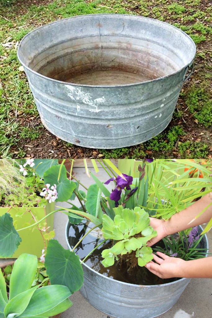 easiest DIY pond from a galvanized tub and a solar pump