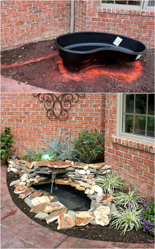 beautiful DIY pond and mini waterfall  with a preformed pond liner