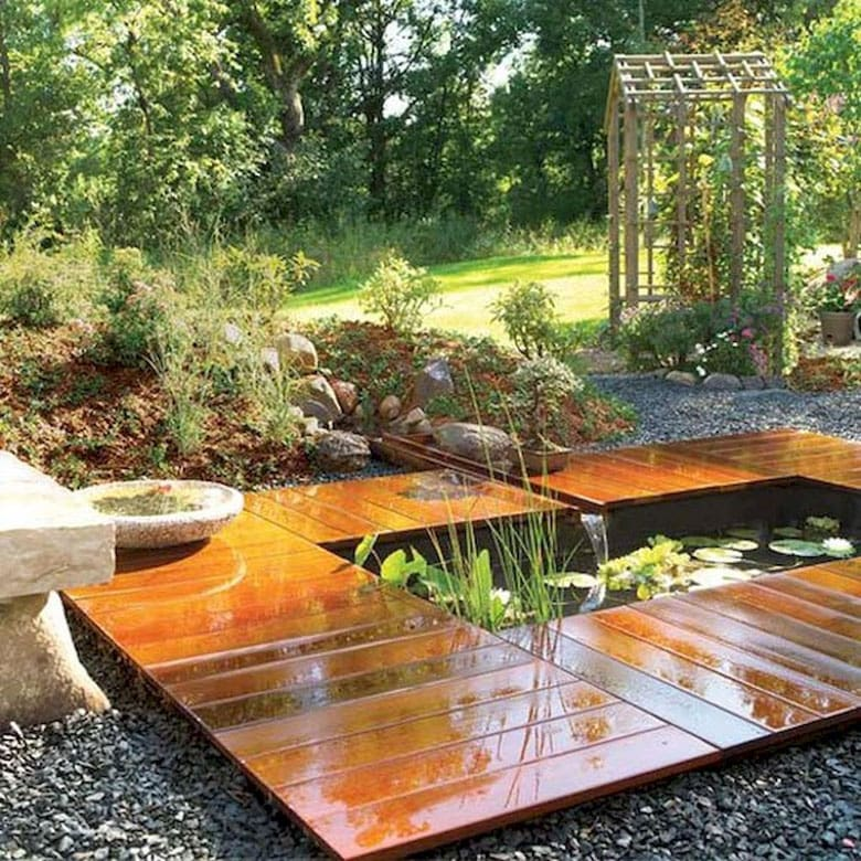 DIY pond ideas with modern wood deck for small garden & patio water feature