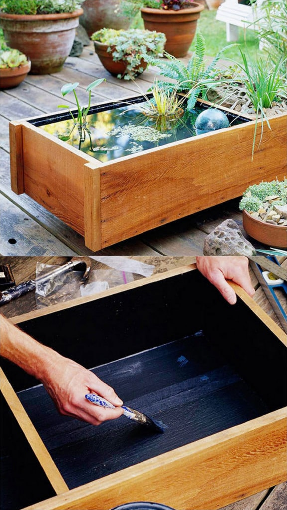 make a modern pond water feature from a small wooden box that fits on a small balcony, deck, or patio