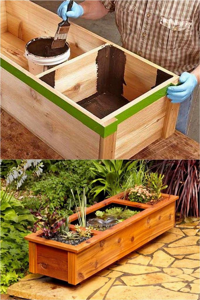 DIY rectangle shape wood patio pond