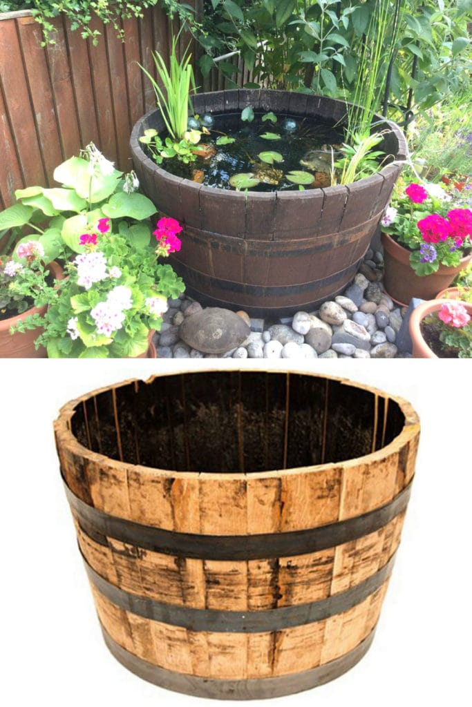 wood wine barrel or whiskey barrel   DIY pond water feature on patio