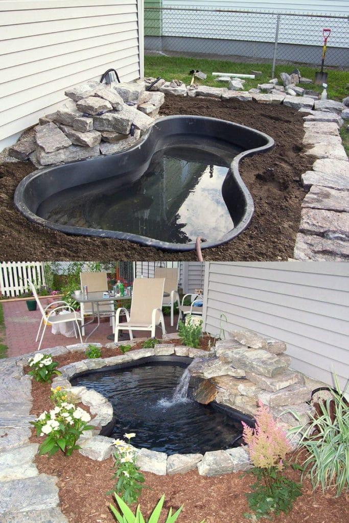 DIY pond with Preformed rigid pond liner