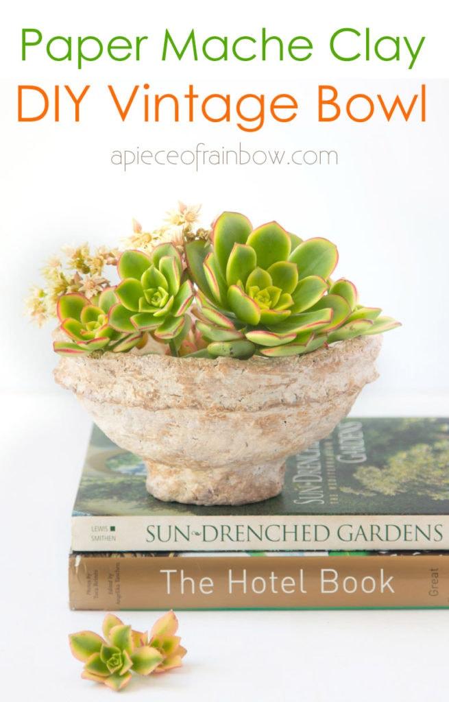 handmade vintage paper mache bowl beautiful farmhouse table decor