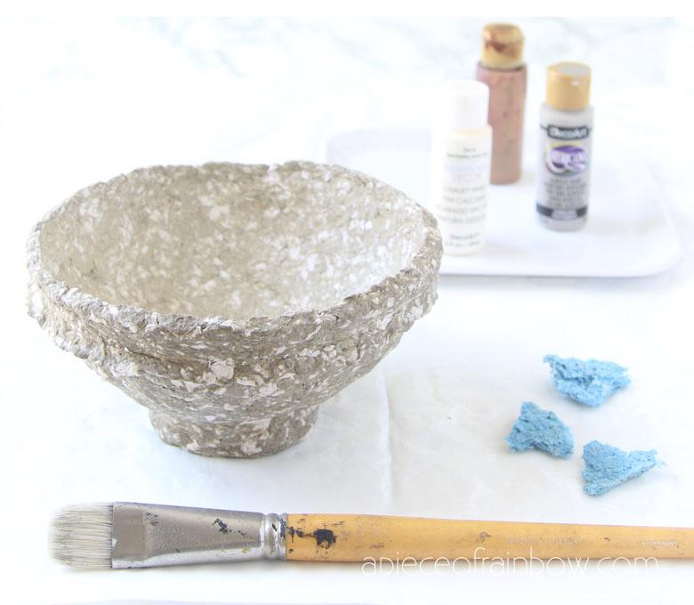 materials to paint vintage paper mache bowls