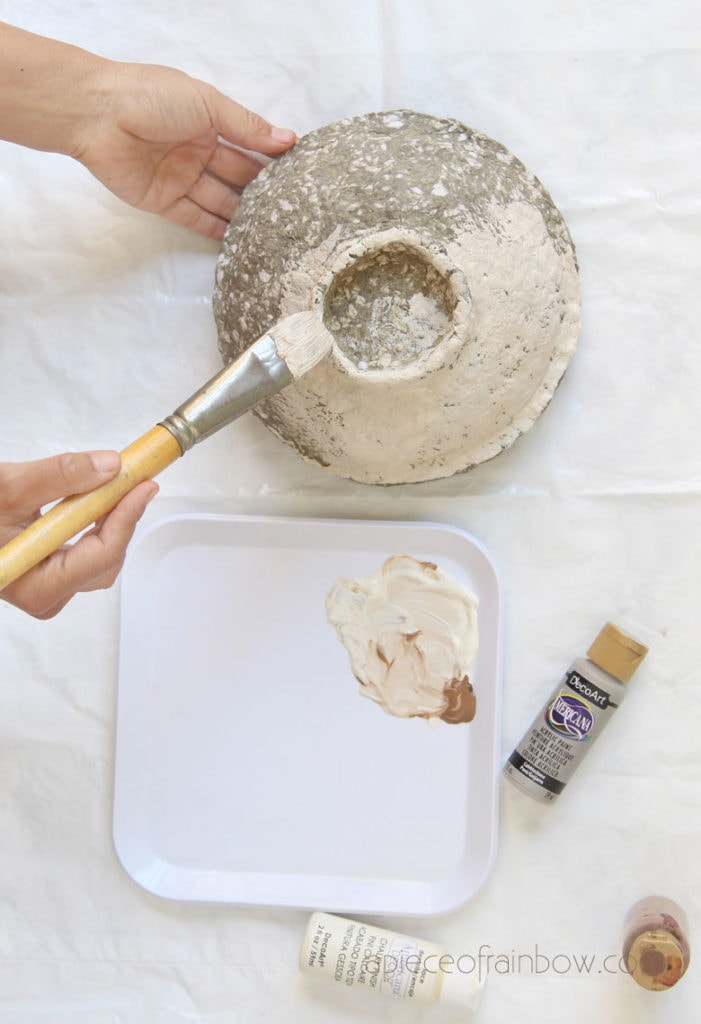 paint  paper clay bowl with base color which looks like aged stone.