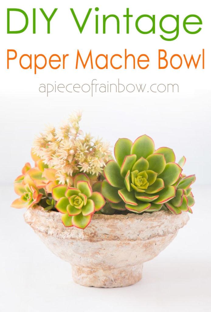 faux succulents are beautiful in paper mache bowl
