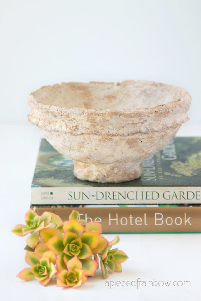 DIY vintage paper mache bowls from handmade paper clay, beautiful bohemian, farmhouse home decor!