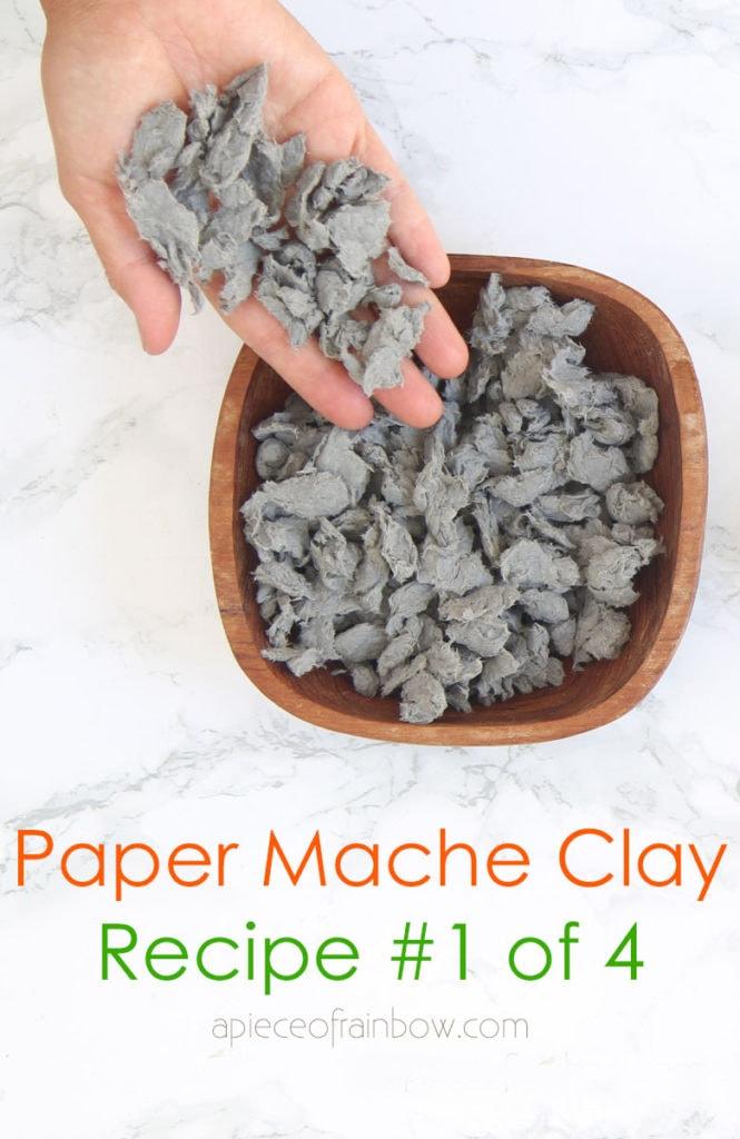 paper pulp for DIY paper mache clay recipe