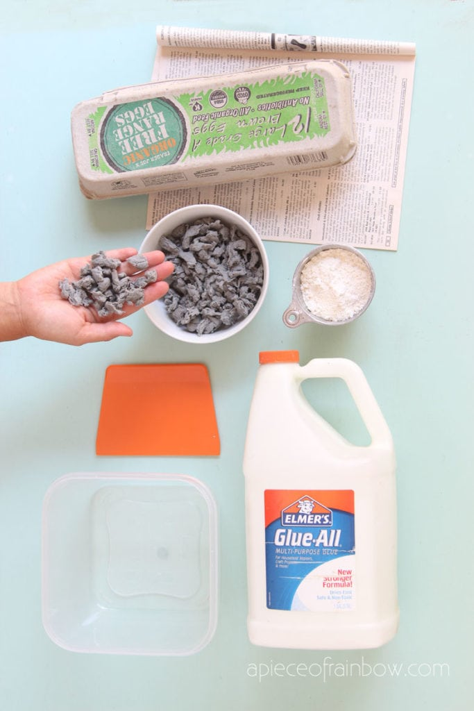 ingredients for Paper mache clay recipe