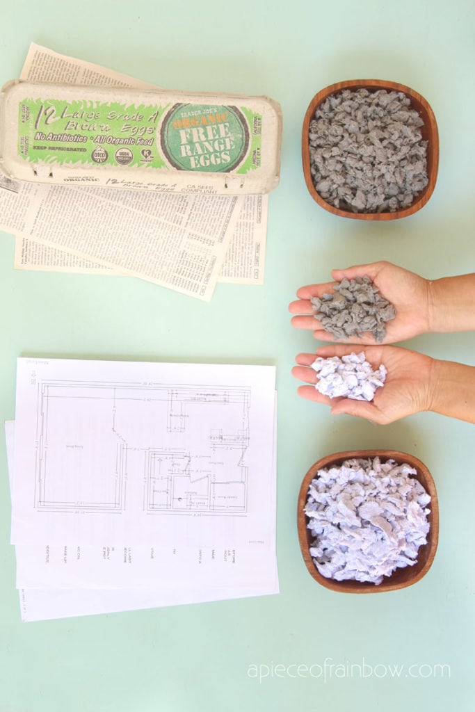 newspaper and recycled white paper pulp to make paper mache clay