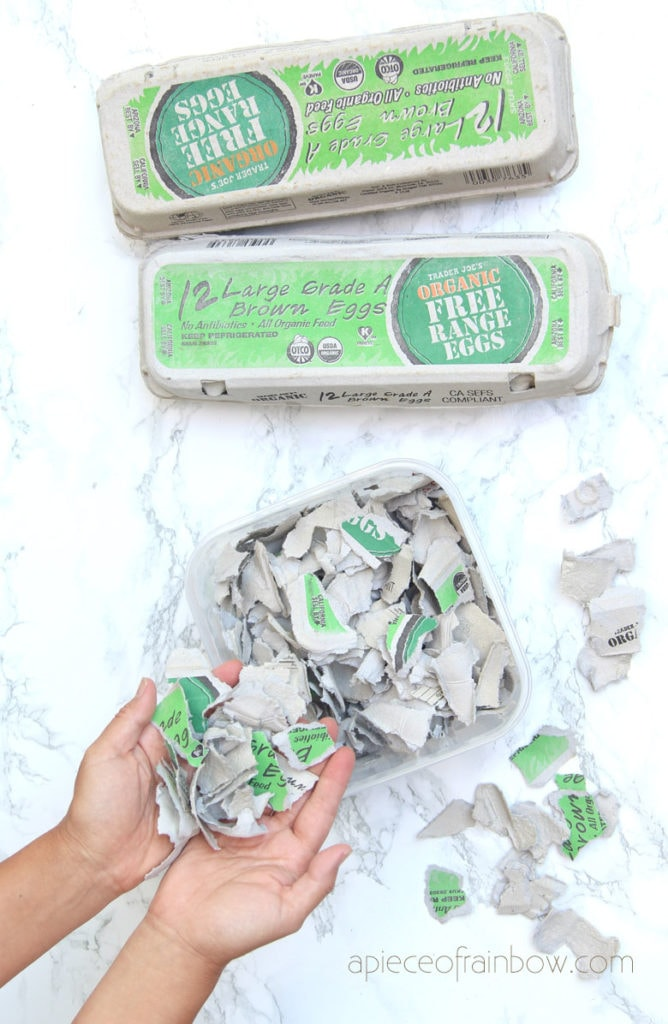 tear egg cartons or paper into small pieces