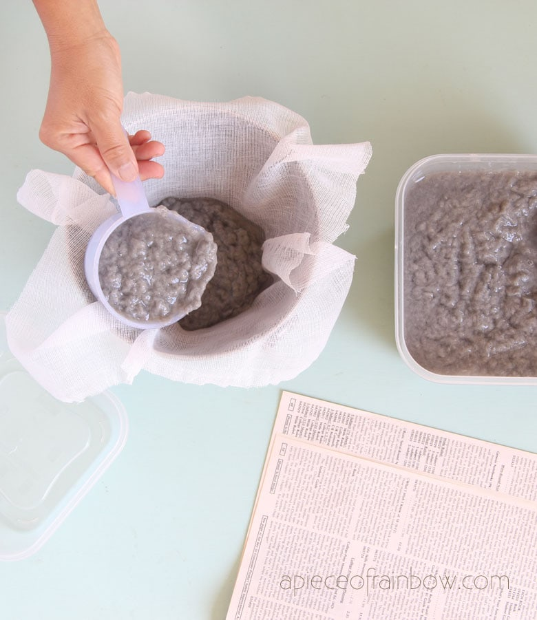 scoop the paper pulp into a piece of thin fabric such as cheesecloth.