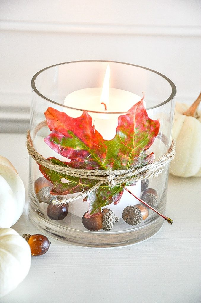 Hacer candelabro de hojas otoñales con hojas prensadas