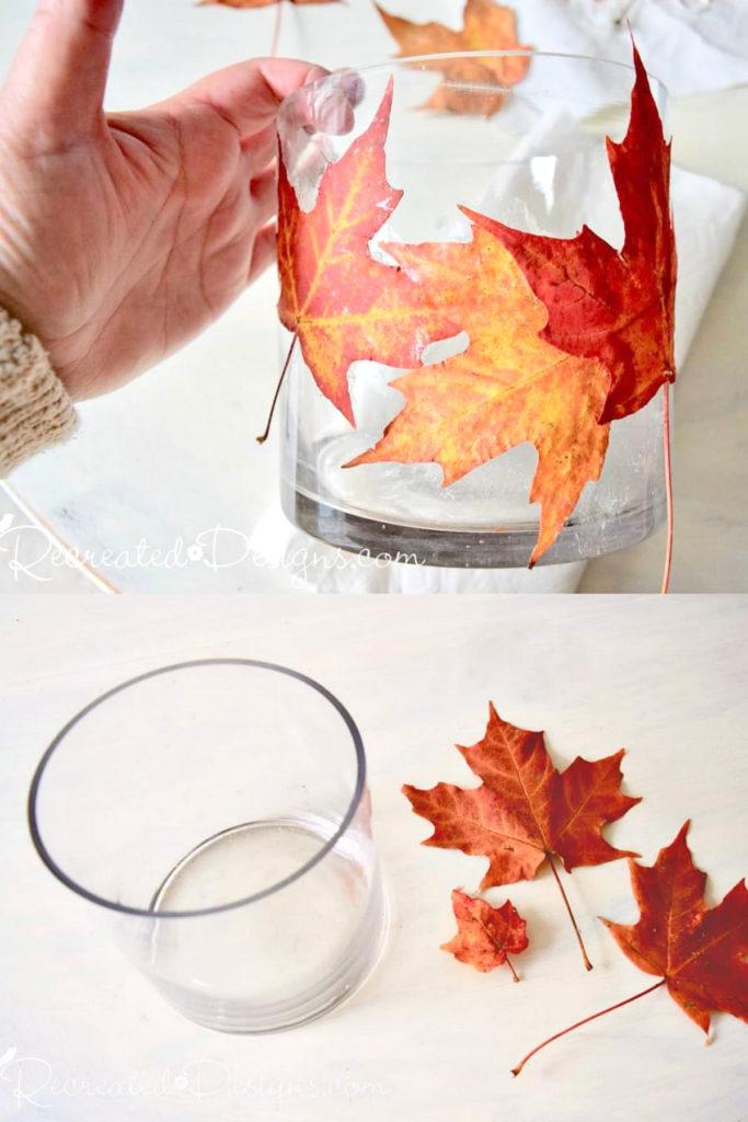 portavelas de vidrio de hoja otoñal de decoupage con hojas prensadas