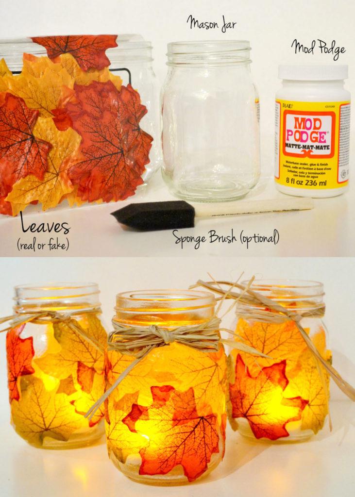 Decoraciones de tarros de albañil de hojas de otoño