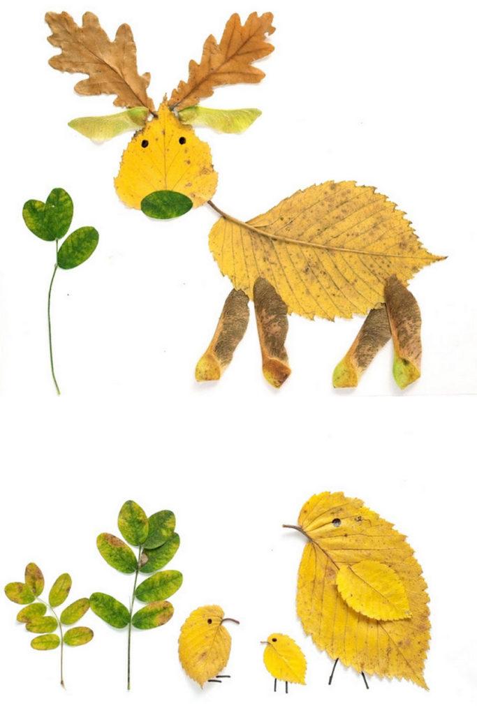 arte animal con hojas de otoño prensadas