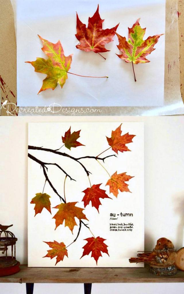 Haciendo arte con hojas de otoño prensadas