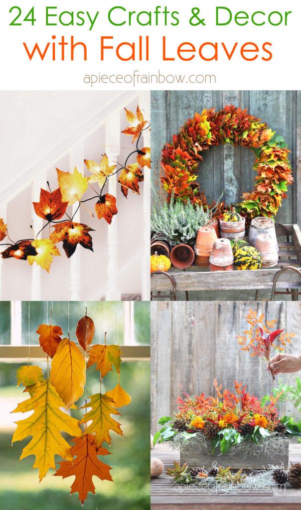 manualidades de hojas de otoño e ideas fáciles de decoración de bricolaje, como una corona de colores, una guirnalda, un centro de mesa de Acción de Gracias,