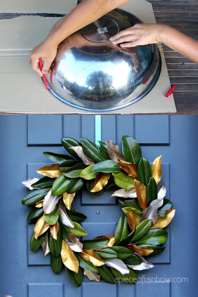 hermosa corona de hojas de magnolia DIY con cartón