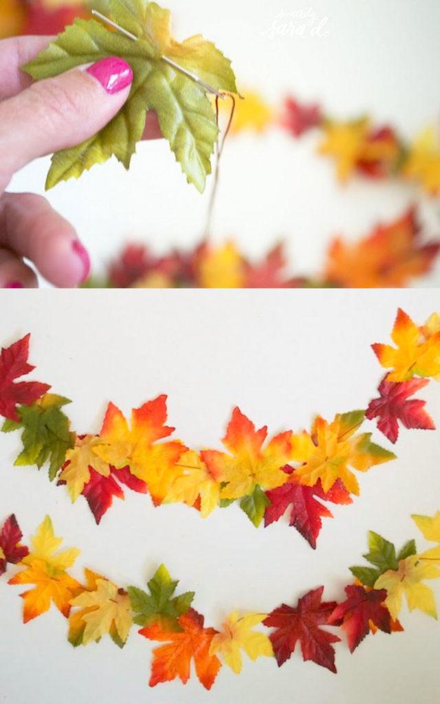 Guirnalda de otoño de bricolaje con hojas reales o falsas