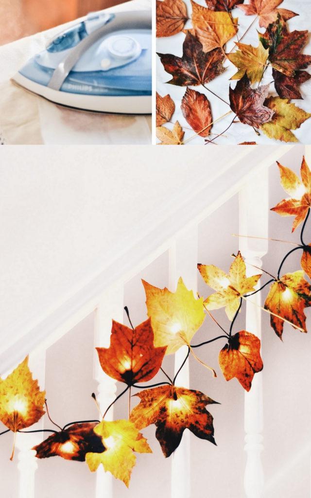 hacer una guirnalda de hojas otoñales iluminada