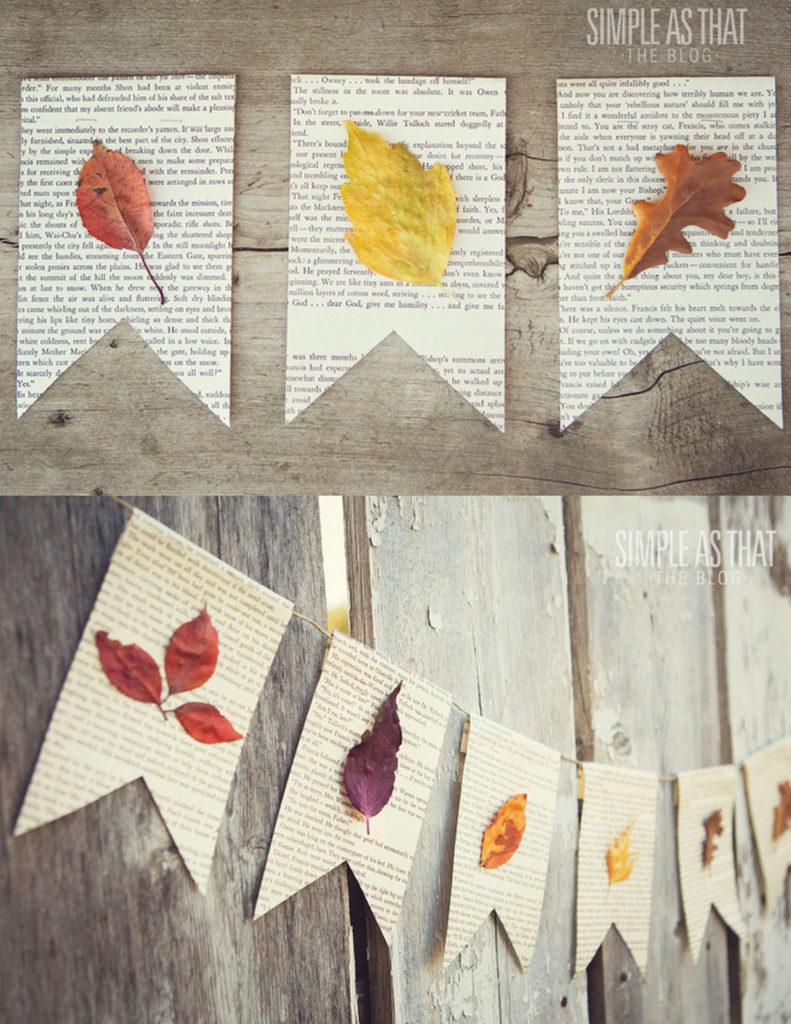 ¡Pegue las hojas de otoño en las páginas del libro para hacer que la guirnalda estilo granja sea perfecta para el otoño y el Día de Acción de Gracias!