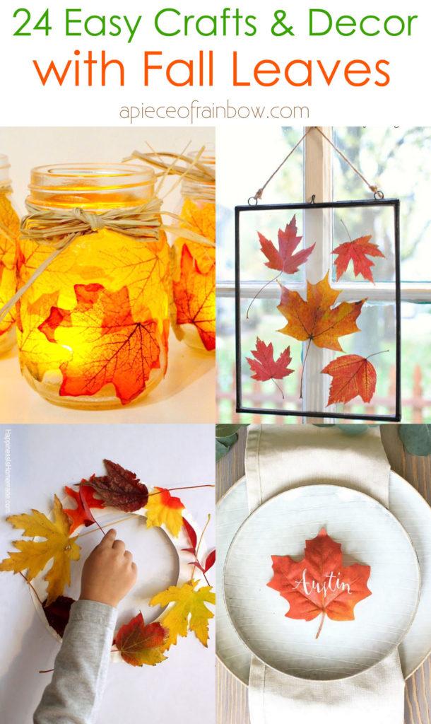24 magníficas manualidades de hojas de otoño e ideas fáciles de decoración de bricolaje, como corona de colores, guirnalda, impresión de arte de hojas para niños, frascos de albañil, centro de mesa de Acción de Gracias, etc.