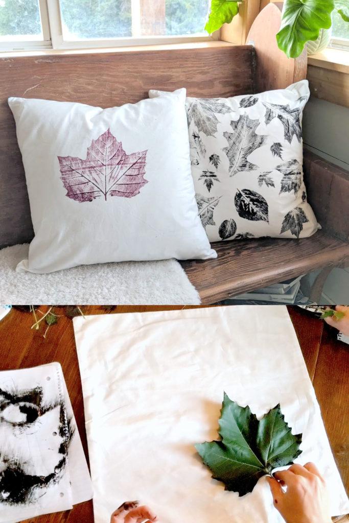 Almohadas con estampado de hojas de otoño