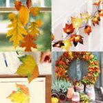 24 Gorgeous fall leaf crafts & easy DIY decor ideas such as colorful wreath, garland, kids leaf art printing, mason jars, Thanksgiving table centerpiece, etc!