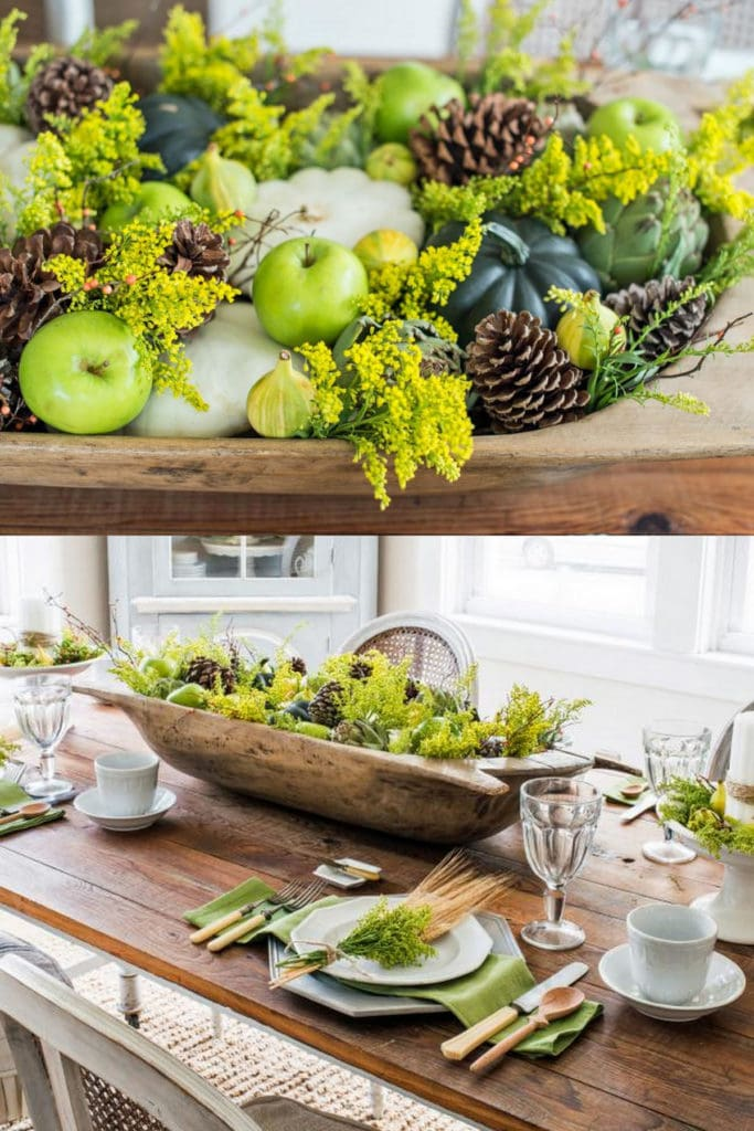 Thanksgiving table decor with apples and pine cones
