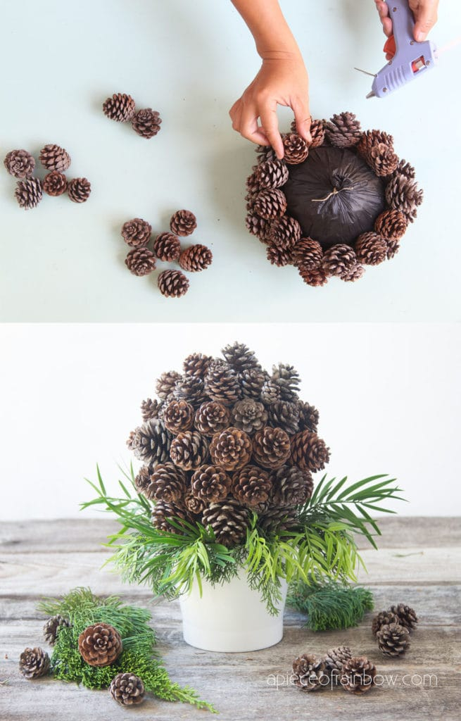 DIY pine cone topiary for farmhouse and modern table decor