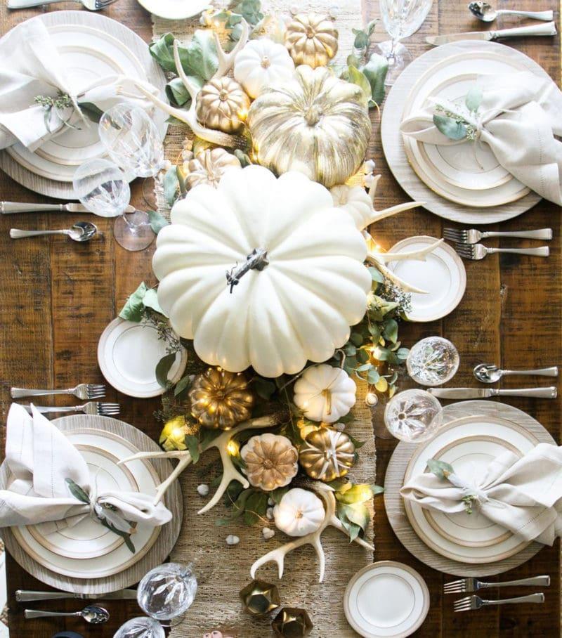 metallic painted pumpkins table centerpiece